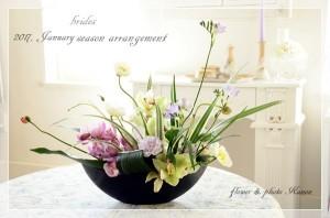 _DSC2868-600-photo-2017 1月 季節のアレンジ  シンビジュームと春の草花 2